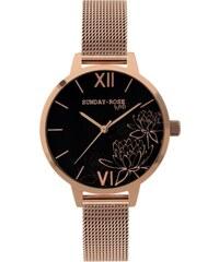 311bbe04119 JVD Dámské luxusní designové černé hodinky SUNDAY ROSE Black Lotus SUN-F06