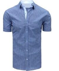 4785f221ff27 Brand Modrá pánska károvaná košeľa na leto (kx0841) kx0841