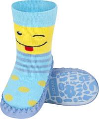 8c72a87f120d Detské papuče s koženou podošvou SOXO SMAJLÍK modré