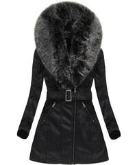 8700daea4b29 The SHE Čierna koženková dámska bunda s kožušinou