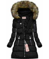 The SHE Čierna zimná dámska bunda s kožušinou 13add14e703