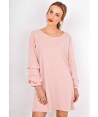 The SHE Púdrově ružové dámské šaty s volány na rukávech d3cc34e1d5