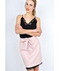 d17c0619640c The SHE Púdrovo ružová koženková sukňa s čipkou