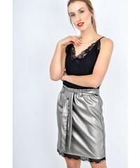 75ad1f6b91a4 The SHE Strieborno sivá koženková sukňa s čipkou