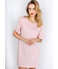 The SHE Púdrově ružové šaty s volány na rukávech 016bfb005d