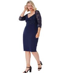 70e16789c595 Tmavě modré pouzdrové šaty s krajkou City Goddess Nella