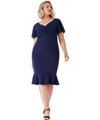 Tmavě modré pouzdrové šaty s volánem City Goddess Leona d4bc367f7a