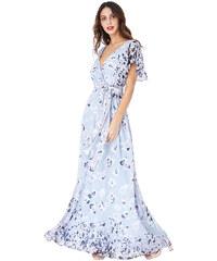 423b0095a460 Šedé dlouhé šaty s květy City Goddess Chirine
