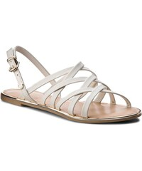 836bf58ff6b062 Sandály TOMMY HILFIGER - Leather Strappy Flat Sandal FW0FW02228 Whisper  White 121