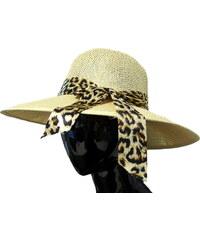 Made in Italy Dámský slaměný klobouk s leopardí mašlí 9cbd3bb468
