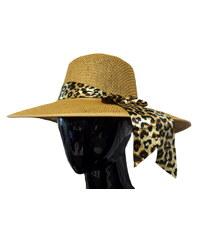 Made in Italy Dámský slaměný klobouk s leopardím šátkem a49dc6a5b7