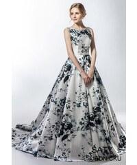 Helen Fontaine Luxusní saténové šaty s květinovým potiskem 93b2f035c9