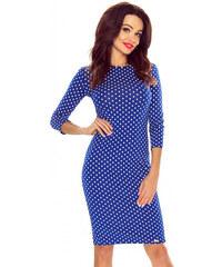 Bergamo Modré bodkované šaty Eleonora 48ebf4d3ba2