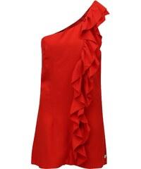 aae1433b4375 Červené šaty přes jedno rameno s volánem Fornarina Leila
