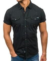 dbd274dbc25 Černá pánská košile s kátkým rukávem Bolf 3272