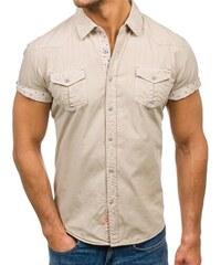 Béžová pánská košile s krátkým rukávem Bolf 3276 d0ccaaec80