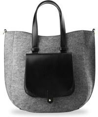 e3533610ee RICCALDI Shopper bag kabelka z filcu s kapsou a klopou šedý