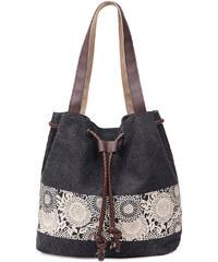 5c3116e1515c Lifestyle Dámská plátěná kabelka Blumen - černá