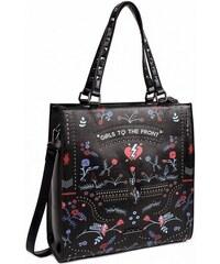 16a4ba8d7a A Čierna kabelka s potlačou Girls To The Front Shopper