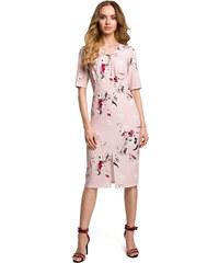 709e3ed9eb87 Púdrovoružové letné púzdrové šaty s kvetinovým vzorom MOE383