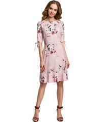 Púdrovoružové letné šaty s kvetinovým vzorom MOE381 11b93c19c48