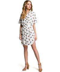 badb21d787d7 Biele ľahké kimonové šaty so vzorom vtáčích pier MOE385