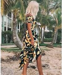 d4b1c46cb36f Parisian Letní maxi šaty Slunečnice černé