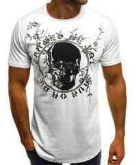Bílé tričko s potiskem lebky OZONEE B 181604 b35e8d8d09