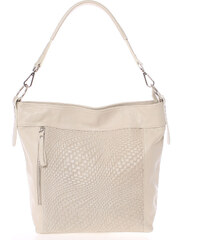 Módní dámská kožená kabelka béžová se vzorem - ItalY Margareta béžová 993be1093cf