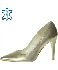 42ba6985bd16 OLIVIA SHOES Elegantné lesklé zlaté lodičky A944-1