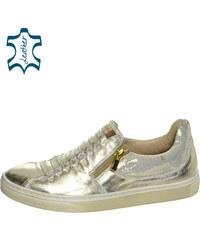 a528efcf7961 OLIVIA SHOES Dámske zlaté tenisky so zipsami DTE021