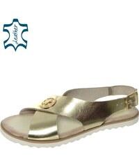 9b3995c5746c OLIVIA SHOES Zlaté nízke pohodlné dámske sandále DSA023