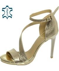 568ec4dfd328 OLIVIA SHOES Zlaté sandále na vysokom podpätku DSA002-1