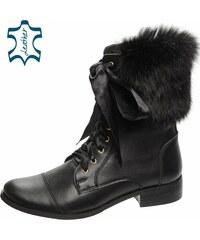 OLIVIA SHOES Čierne členkové kožené čižmy s kožušinou DKO021 e86150a0093