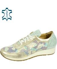 abb0b54c1ea4 OLIVIA SHOES Modro-zlaté tenisky s jemnými kvetmi DTE049