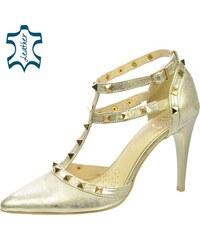 8030297b7032 OLIVIA SHOES Zlaté sandále na podpätku s vybíjanými prvkami DSA039