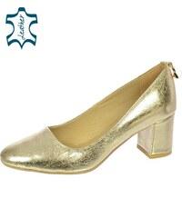 a088917512 OLIVIA SHOES Zlaté lodičky s ozdobou na päte DLO032