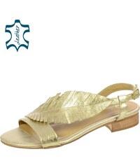 b01b6a637670 OLIVIA SHOES Zlaté nízke pohodlné dámske sandále v tvare listu DSA051