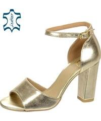 385a49db295b OLIVIA SHOES Zlaté dámske sandále na hrubom podpätku DSA049