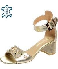 fd09065c11d4 OLIVIA SHOES Zlaté sandále na hrubom podpätku s perlami DSA054