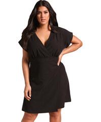 NoName Dámské šaty pro plnoštíhlé s krátkým rukávem černé c994f59264