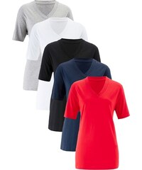 5d7e4c13e233 bonprix Dlouhé tričko s výstřihem do V (5 ks)