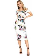 LITTLE MISTRESS Upnuté květinové midi šaty s přestřižením 08cfe219aa