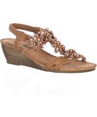Brilliant Dámské sandály na klínku s kamínky ed266a126f