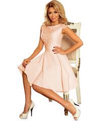 6b8fca0caaa5 NUMOCO Ružové šaty MARTA s čipkovaným topom 157-7