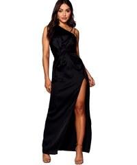 BOOHOO Čierne saténové maxi šaty Bella 9bb53fd70d9