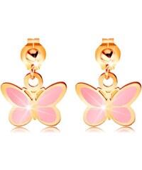 89fab7a32 Šperky eshop - Zlaté náušnice 585 - lesklá gulička a visiaci ružový  motýlik, glazúra GG167
