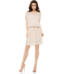 f132b2e938c Lehounké šifonové šaty s krajkou Lemoniade L241 béžové