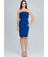 78545c72abbe FIGL Elegantné modré šaty bez ramienok M571