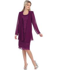 Glamor Fialový kostýmek se šifonovým kabátkem 8b7b7ec63a7